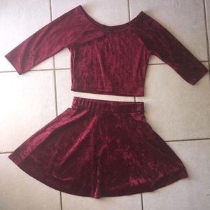 Wine red velvet outfit